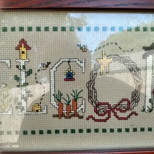 None Accents - Vintage circa 2000 cross-stitch Welcome sign
